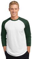 Sport-Tek New Men's Dri-Fit Baseball Jersey 3/4 Sleeve T-Shirt XS-4XL. ST205