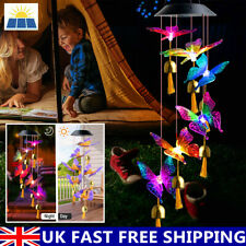 More details for wind chimes solar powered led changing butterfly light hanging garden outdoor uk