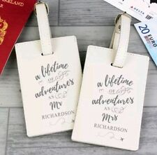 Personalised Lifetime of Adventures Mr and Mrs Luggage Tags Wedding Honeymoon