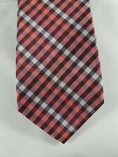 Mens DOCKERS Burgundy Red Silver Plaid 100% Polyester Tie 56""