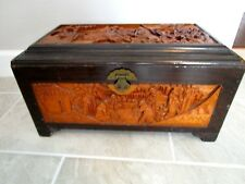 Intricately Carved Chinese Camphor Wood LARGE Chest Trunk Warriors