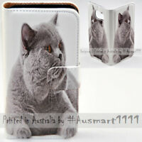 For Samsung Galaxy Note Series - Grey Cat Print Wallet Mobile Phone Case Cover
