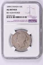 1898 Canada 50 Cents NGC AG Details, Rev Scratched Witter Coin