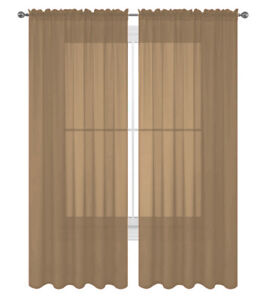 """2 Pack Fully Stitched Sheer Window Curtain Panel Drapes 63"""" 84"""" 95"""" 108"""" 120""""L"""