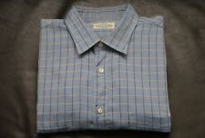 Fray for Trillion blue check dress shirt IV 16 1/2 made in Italy