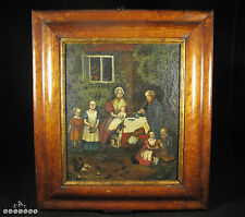 British Naive Folk Art Oil Painting - Family Group Portrait circa 1850