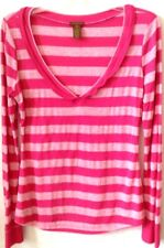 Womens MEDIUM Pink Stripe Knit Top Copper Key Poly/Rayon L/S V-Neck Pre-Owned