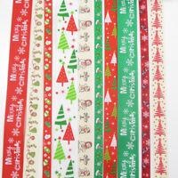 10 x 1 METRE CHRISTMAS TREE RIBBONS 10mm,15mm, 25mm SANTA SNOWMAN FESTIVE GG6378