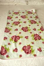 Vintage Style Shabby Chic Duck Egg Blue Green Red Roses Floral Hand Towel