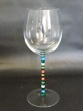 """Crate & Barrel Red Wine Glass CAPRICE Multi-colored Striped Stem 8.75"""""""