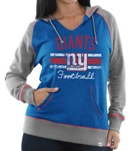"""New York Giants Women's Majestic NFL """"Buttonhook"""" Pullover Hooded Sweatshirt"""