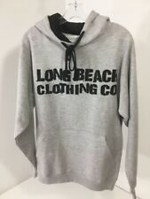 LONG BEACH CLOTHING MEN'S GRAPHIC HOODIE HEATHER GRAY MEDIUM NEW $37