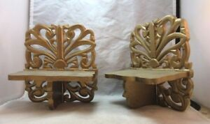 2 Syroco wood wall mount knick knack shelves