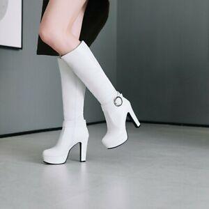 Womens Platform Block High Heels Knee High Boots Round Toe Buckle Shoes Clubwear