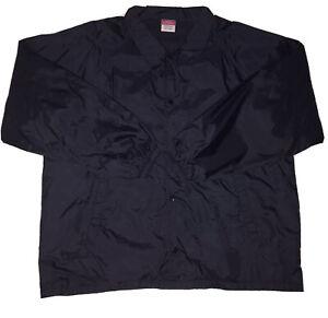 VINTAGE CHAMPION Button Up Coach WINDBREAKER Jacket, Navy Blue Size XL
