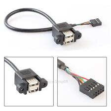 9 Pin Motherboard Header to 2 Ports USB 2.0 Female Cable Adapter Cable for PC
