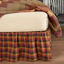 VHC Primitive Bed Skirt Heritage Farms Bedding Red Cotton Plaid Gathered