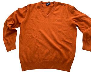 Glengarnock Mens Jumper Sweater Burnt Orange L 100% Lambswool V-neck Scottish