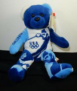 RARE Team Ring Beans Authentic OLYMPIC USA SKIING Bean Bag Bear SLC 2002   #693