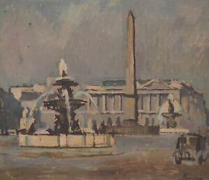 Signed Be - Place de La Concorde Louvre Obelisk Paris