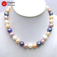 """10-13mm Round Multicolor Natural Freshwater Pearl Necklace for Women 17"""" Chokers"""