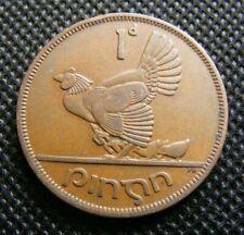 1950 Irish Penny Coin Ireland Scarcer Year Hen Chicks Celtic Harp Vintage Lucky