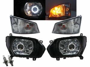 500 MK5 15-Present Guide LED Angel-Eye Lamp Headlight W/Motor Black for HINO LHD