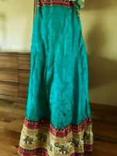 VTG Ethnic Boho Silk Embroidery India Kuchi Rabari Banjara Tribal Dance Skirt L