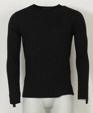 TRANSIT UOMO Longsleeve Shirt schwarz Wolle Leder Extensions Gr S * 53901 NEU