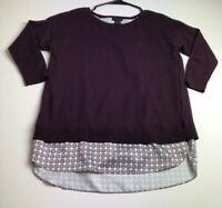 Ann Taylor Women's ¾ Sleeve Sweater Blouse Small S Purple Geometric Crewneck