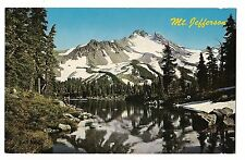 2 Men FISHING under Snow Capped MT. JEFFERSON OREGON Postcard OR