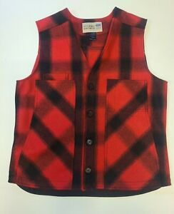 New Mens Stormy Kromer USA 100% Wool Vest red plaid large button cold weather
