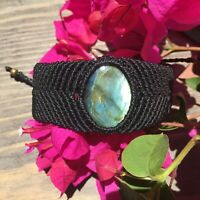 Rare! Beautiful  Natural Labradorite Macrame Bracelet Healing Gemstone Chakra