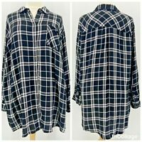 Ava & Viv Black White Plaid Flannel Button Shirt Womens 4X