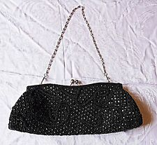 VINTAGE WALLIS BLACK BEADED EVENING HANDBAG OR CLUTCH EVENING PARTY GOTHIC CHIC