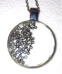 Floating Crystals Round Necklace Glass Pendant  filled with crystal beads