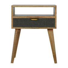 Grey Tweed Bedside Table Solid Wood Night Cabinet Furniture Scandi Upholstered
