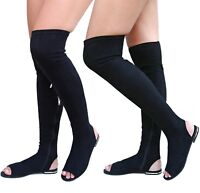 New Women JC9 Black Over the Knee Stretchy Thigh High Gladiator Tall Sandals