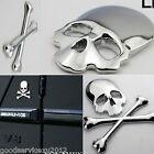 Truck Chrome Crossbones Skull Demon Metal Bone Logo Badge 3M Decal Metal Sticker
