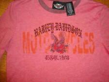 Harley Davidson Motorcycle Women's red bling T shirt M