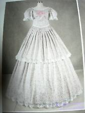 Civil War Pink Flowers White Lace Dress Costume Med Large NEW Short Sleeve Gown