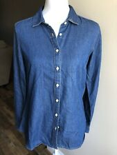 abe84c9280 Eddie Bauer Women s Denim Shirt Long Sleeve Button Front Size M