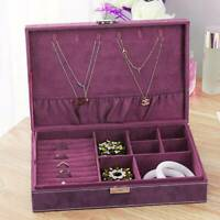 Vintage Ring Necklace Bracelet Jewellery Storage Box Display Case Organiser Xmas