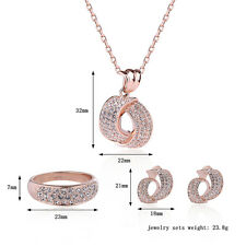 Wedding Jewelry Pendant Rose Gold Zircon Necklace Earings Ring Jewelry Sets 3pcs