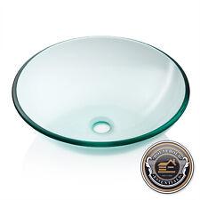 Modern Glass Vessel Sink - Bathroom Vanity Bowl - Round Clear