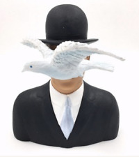 """RENE MAGRITTE """"MAN WITH HAT AND DOVE"""" Art Sculpture Statue Figurine"""
