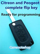 Peugeot 207 307 308 407 607 & Citroen complete Remote transponder Key with chip
