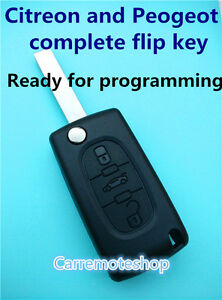 Peugeot 207 307 308 407 607 & Citroen complete Remote transponder Key with chip