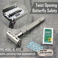 Twist Ouvert Papillon Sécurité Rasoir & 5 Double Bord Lames Classique Rasage ♥