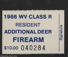 1986 West Virginia State Additional  Deer FIREARM  Hunting Stamp WVAF-86